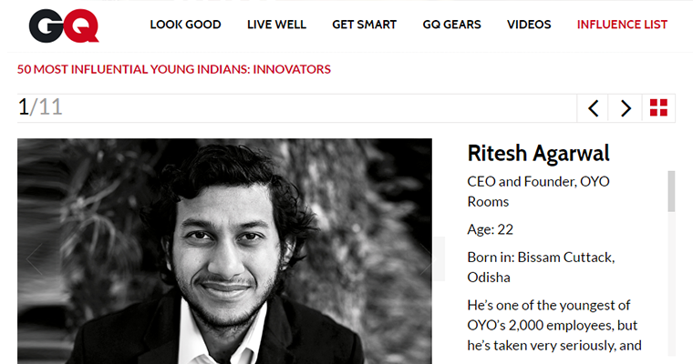 Ritesh leads GQ's '50 Most Influential Young Indians: Innovators' list