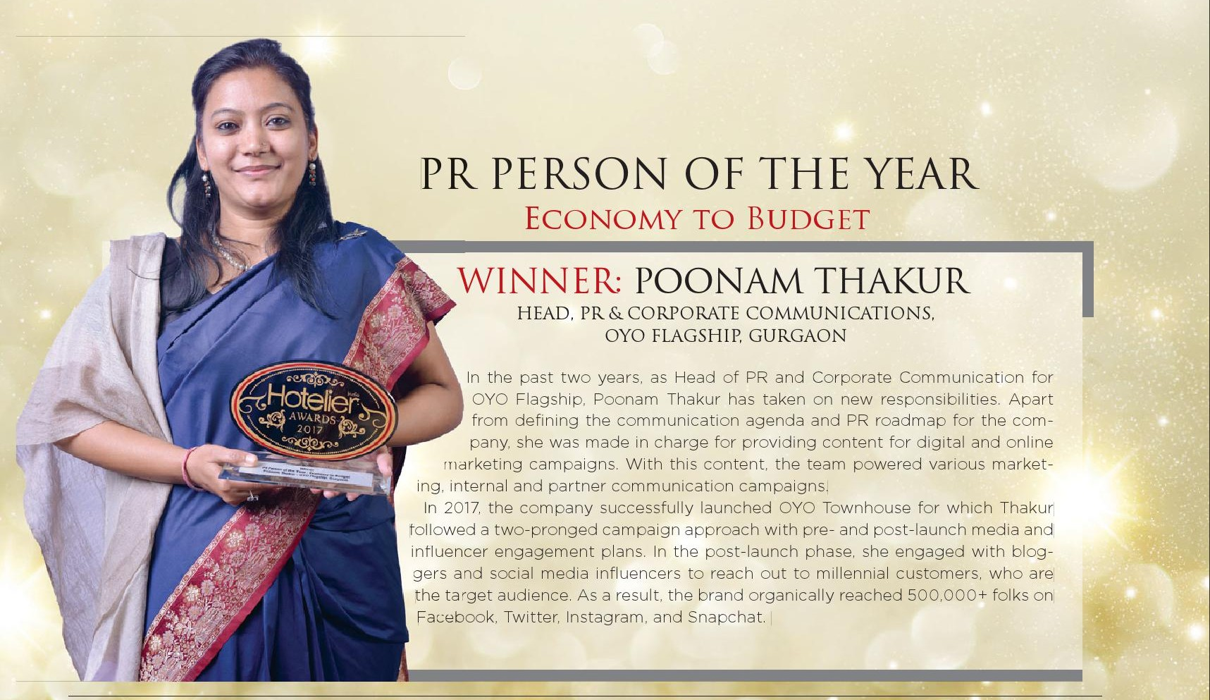Hotelier India Awards_PR Person of the Year_January 2018 Edition