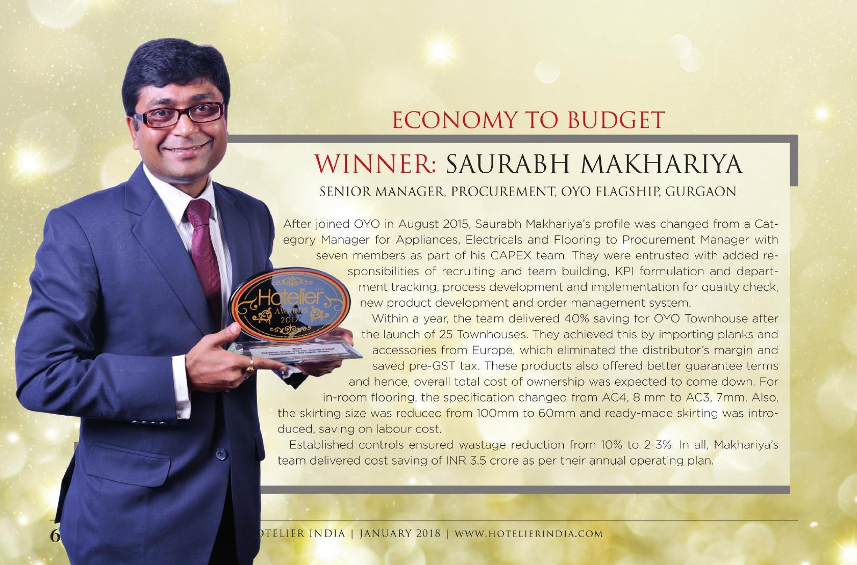 Hotelier India Awards_Procurement Person of the Year_January 2018 Edition